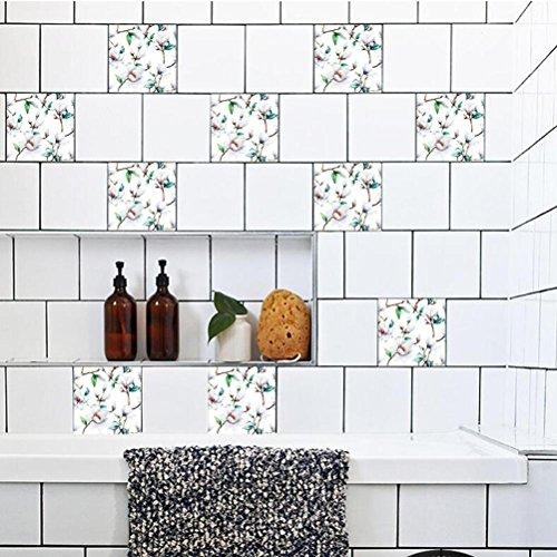 MINRAN DECOR BJ Art de tuiles Mural - Adhésif carrelage   Sticker Autocollant Carrelage - Mosaïque carrelage Mural Salle de Bain et Cuisine   - 20x20 cm - 10 pièces TS016