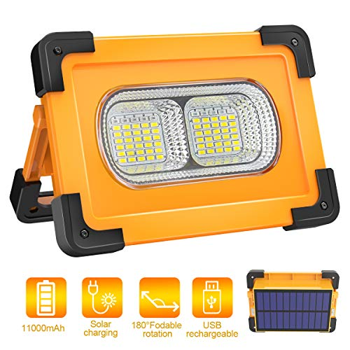 T-SUN Projecteur LED Rechargeable Lampe Chantier 80W 4000 Lumens Projecteur Portable avec Pannea Solaire 4 Modes Super Brillant Lampe de Travail avec Batterie 11000mAh pour Camping, Bricolage