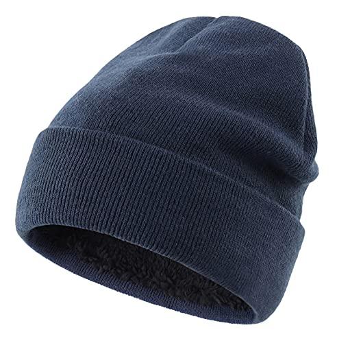 Home Prefer Men's Winter Hat Warm Knitted Beanie Watch Hat Fleece Lined Skull Beanie Cap Navy Blue
