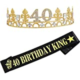 40th Birthday Crown and Birthday King Sash,40th Birthday Gifts for Men,Birthday Gift Idea for Him, Husband, Father, Brother Friends Party Favors.40th Birthday Decorations
