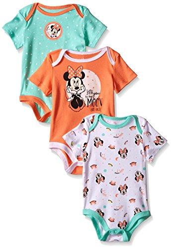 Disney Baby Minnie Mouse – Conjunto de 3 Monos, Multicolor/Naranja, 3/6 Meses