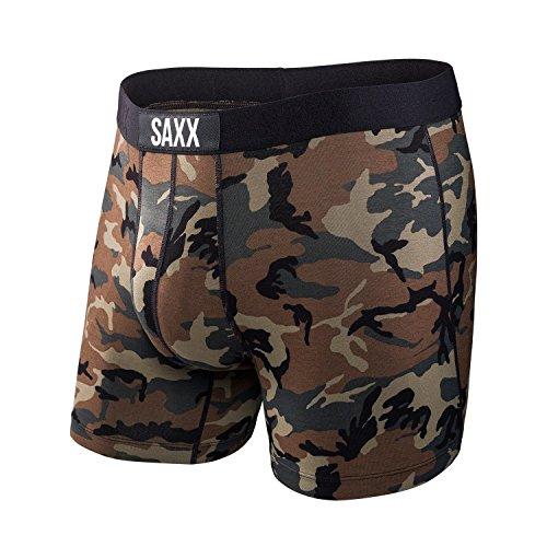 SAXX Underwear Co. Boxershorts Vibe Boxershorts mit integrierter Unterwäsche zur Unterstützung des Baseballstadions X-Small Woodland Camo