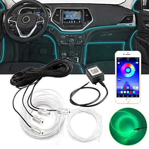 Car Interior LED Strip Light XTAUTO Multicolor RGB Car Neon Atmosphere Lights 16 Million Colors 4 in 1 Ambient Lighting Kits with 19.6FT Fiber Optic Sound Active Function and Bluetooth APP Control