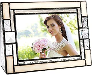 Wedding Picture Frame Ivory Opalescent Stained Glass Table Top 4x6 Horizontal Photo Anniversary Engagement J Devlin Pic 407-46H