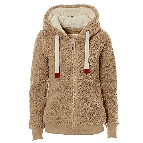 XOXSION Sudadera con capucha para mujer, gruesa, cómoda y cálida, de felpa, informal, con cremallera amarillo L
