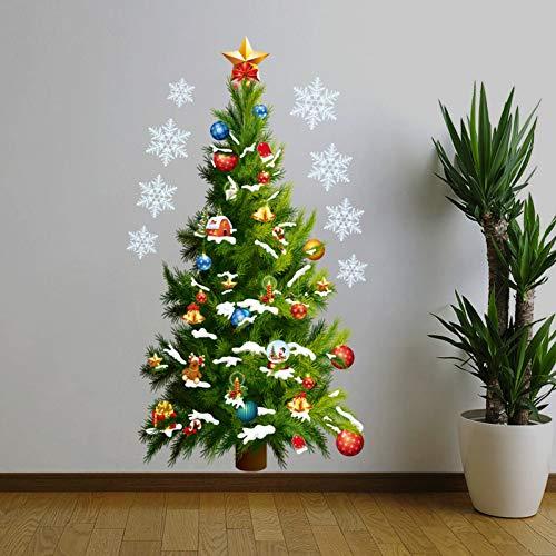 VIOYO Fenêtre en Verre PVC Mur Autocollant Arbre De Noël DIY Flocon De Neige Home Décalque De Noël Décoration Home Supplies Chambre