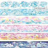 マスキングテープ かわいい moodtape 風景 月 雲 夕方 特殊インク 手帳 シール 手帳テープ (5点セット)