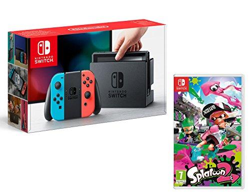 Nintendo Switch Console Rouge/Bleu Néon 32Go + Splatoon 2