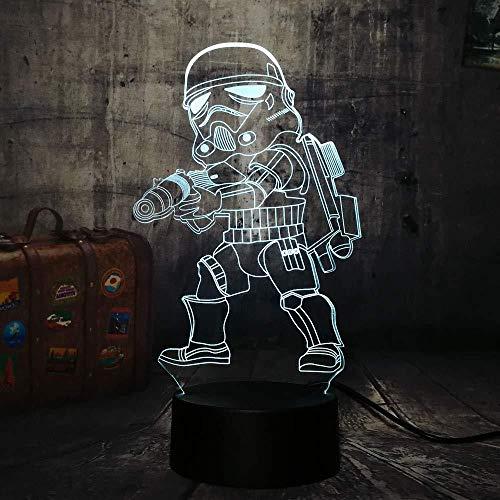 Planet Empire Stormtroopers 3D Veilleuse Led Lampe 7 Changement de Couleur Tactile USB Table Cadeau Enfants Jouets Chambre Décor De Noël Saint Valentin Cadeau D'anniversaire Cadeau