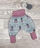 Pumphose Jersey haremshose Gr. 56-110, hose mädchen rose Hase, Babyhose, Kinderhose