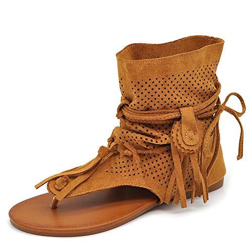 IF Fashion Scarpe da Donna Sandali Indianini Infradito Etnico Frange Pelle Sintetica GLY-103 Camel N.36