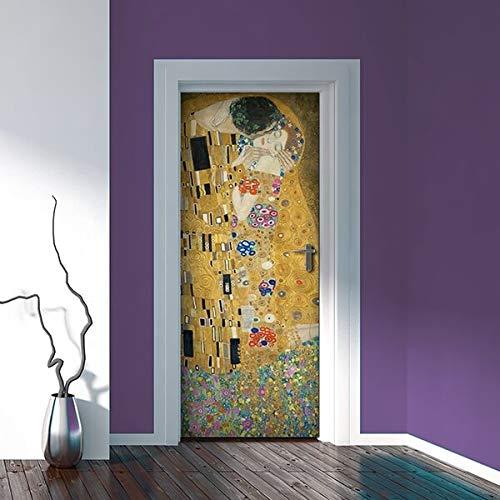 Adesivi per Porte in PVC Premium, Door Cover Bacio di Gustav Klimt, Applicazione Facile e Senza Bolle, Rivestimenti per Porte da Interno 83 x 210 Rifilabili