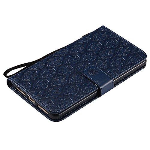 pinlu® PU Leder Tasche Handyhülle Für Huawei Ascend Mate 8 (6zoll) Smartphone Wallet Hülle Mit Standfunktion und Kartenfach Design Rattan Blume Prägung Dunkelblau - 5
