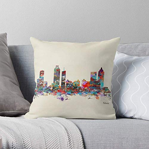 XCNGG Atlanta Colorful Watercolor USA Skyline Urban Skylines Georgia City - Pillow Case Cotton Polyester - Indoor Decorative Pillow Square Cushion Cover for Bedroom Sofa Living Room