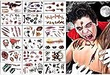 Tatuajes de cicatrices de Halloween, 18 hojas de terror realista, falso tatuaje temporal de heridas de sangre, kit de maquillaje de zombies, para Halloween Cos play Party