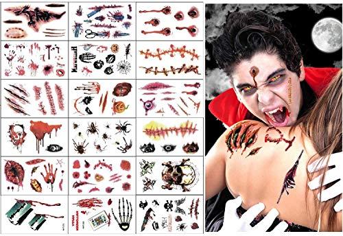 Tatuaggi cicatrice di Halloween, 18 fogli Horror realistico finto ferita di sangue tatuaggi temporanei Kit trucco zombie, per Halloween Cos gioco Party
