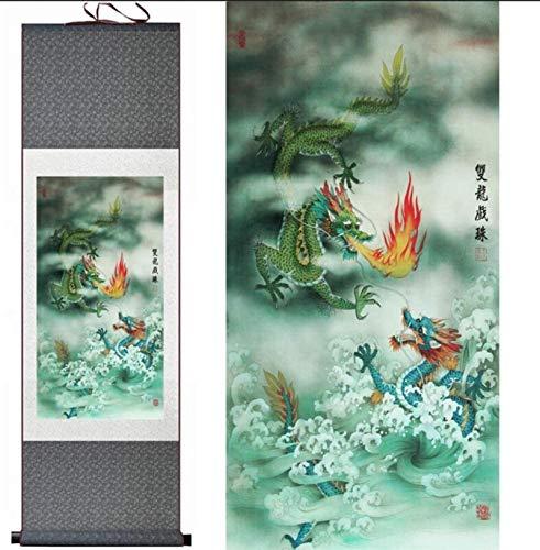Décorations murales Style chinois Peinture De Dragon Chinois Home Office Decoration Peinture De Rouleau Chinois Peinture De Dragon Peinture Dragon De Chinepeinture Imprimée 100X30Cm,...