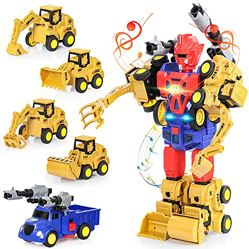 Toys for 3 4 5 6 7 Year Old Boys,5-in-1 Construction Robot Toy with Pull Back Cars,Christmas Birthday Gifts for Age 3-7 Year Old Boys Girls Kids
