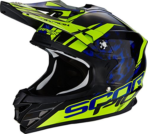 Scorpion Helm Motorrad vx-15 Evo Air kistune, Black/Blue/Neon Yellow, L