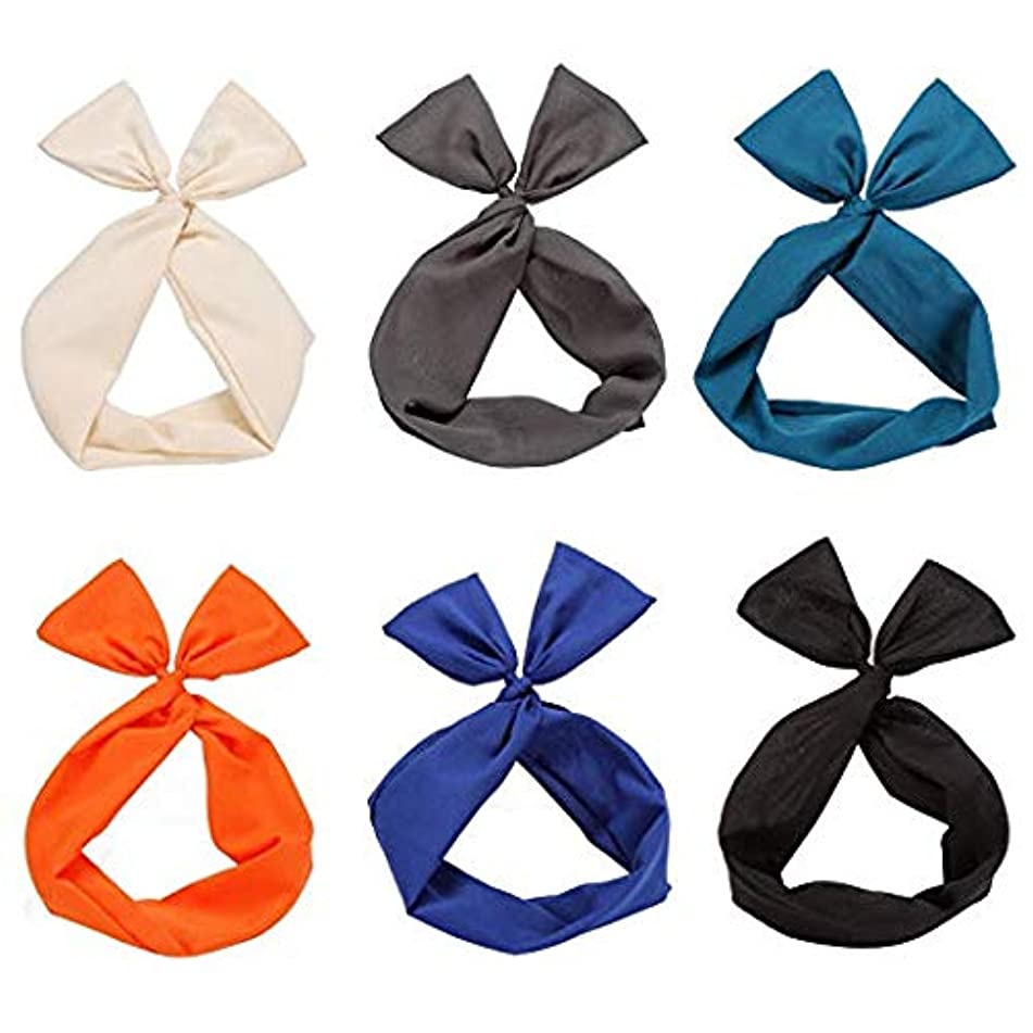 Twist Bow Wired Headbands Scarf Wrap Hair Accessory Hairband by Sea Team(6 Packs Solid)