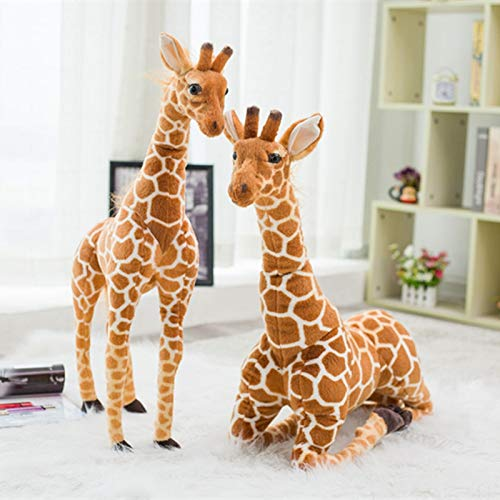 Anyinghh 80 cm énorme Vraie Vie Girafe Jouets en Peluche Mignon Animaux en Peluche poupées Doux Simulation Girafe poupée Cadeau d'anniversaire Enfants Jouet Chambre décor 120 cm Girafe