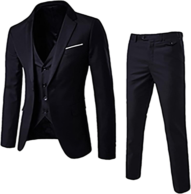 Zainafacai Mens 3 Piece Suits One Button Fashion Arlington Mall Slim Formal Fit Max 53% OFF