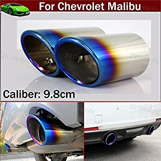 2pcs New Car Chrome Stainless Steel Exhaust Tail Pipe Tip Tailpipe Muffler Cover Trim Emblems Blue Color Custom Fit for Chevy Chevrolet Malibu 2012 2013 2014 2015 2016 2017 2018 2019 2020