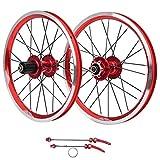 Autuncity Ruote per Bici da Strada, Freno a Disco 16in 305 Set Ruote per Bicicletta da Corsa in Lega di Alluminio a 11 velocità, Set di Ruote per Mountain Bike Professionali(Rosso)