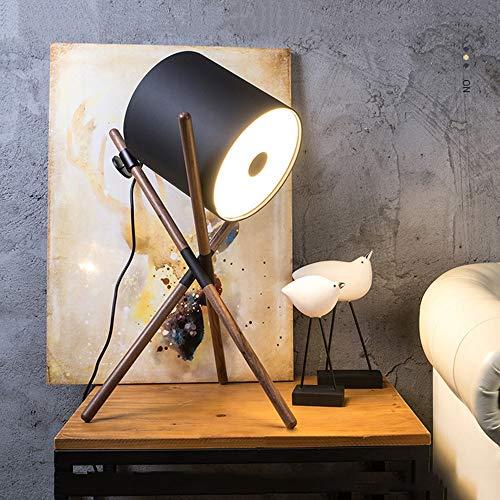 LWX Nordic Minimalist Modern Walnut Lámpara de Mesa Creativa Personalidad Negra Sofá de Cuero Negro Cama y Escritorio de Estudio Lectura Dormitorio Luz Decoración del hogar