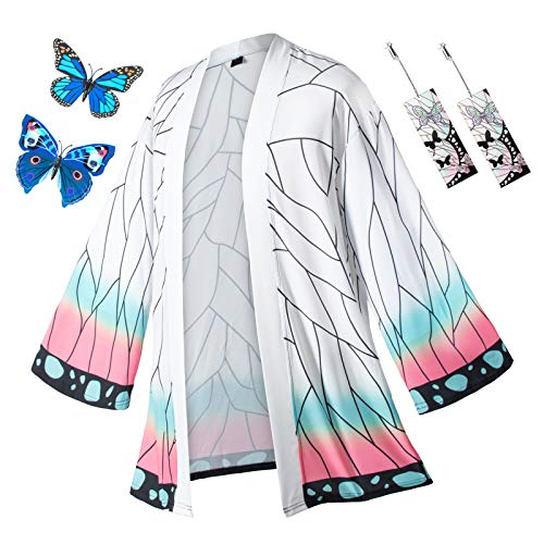 Anime Role Cloak Kochou Shinobu Robes Costume Cosplay Cardigan Jacket Earrings Butterfly Hair Accessories set(S)