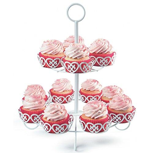 Melidoo 12er Cupcake Muffin Dessert Ständer 2-stöckig | Metall Etagere Weiß, Vintage | Ideal für Kindergeburtstag, Hochzeit, Taufe, Geburtstag, Baby Shower [inkl. E-Book]