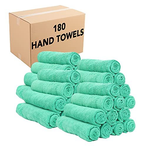 Arkwright Microfiber Hand Towels (15x24, 180 Bulk Case), Perfect Gym Towels for Home, Gym, Salon, Spa, Resort (Green)