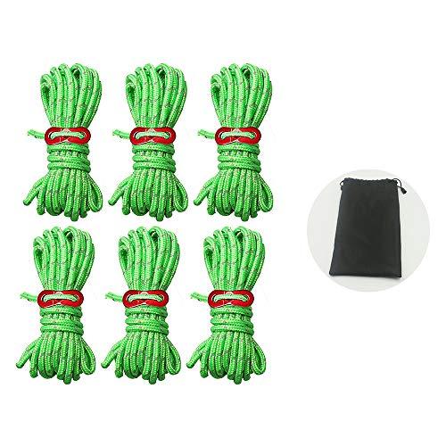 gotyou 6 PCS 4m*4mm Cuerda Reflectante de Camping Nylon,Verde Fluorescente Cuerda con Bolsa de Almacenamiento y Ajustador de Aluminio,para Acampada y Senderismo