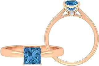Anello di fidanzamento in oro moissanite D-VSSI, anello di fidanzamento da 3/4 ct, colore: blu artico, 5,50 mm, 10K Oro ro...