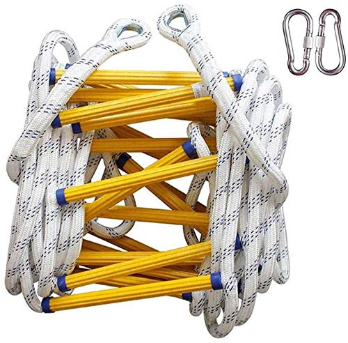 Step ladder, Escape Ladder (210Story),Rescue Ladder Fast To Deploy & Easy To Use Weight Capacity Up To 2000pounds Nylon Ladder For Roof, Playset, Swing Set,tree House (Size : 15m(49.2')) Stable design