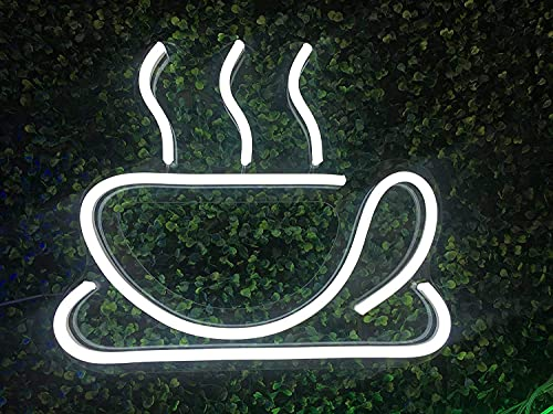 Neon Signs Coffee Cup LED Sign LED Neon Light Sign Coffee Bar Beer Pub 10' 8.6' (or 25cmX22cm) Coffee Signs for Shops, Hotels, Liquor Stores   No use of Toxic Neon (White) (coffee cup)