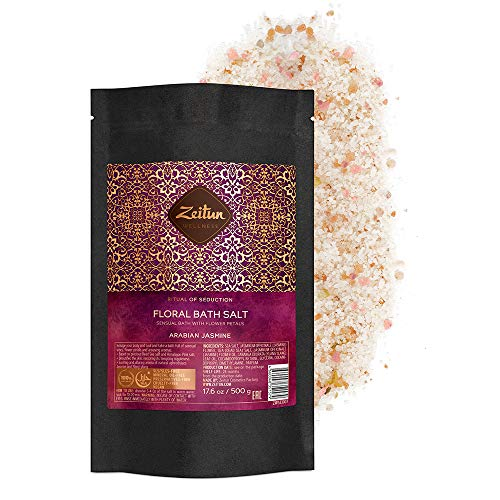 Zeitun Wellness Romantic Natural Bath Salt | Ritual Of Seduction | With Jasmine Petals And Natural Essential Oils | Bath Salts For Relaxation | Dead Sea Salt – 17.6 oz / 500 g