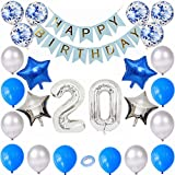 Kiwochy 20 cumpleaños decoración Set Plateado Azul cumpleaños Decoración Globo Fiesta cumpleaños número 20 Globo lámina número 20 Banner de Feliz cumpleaños para niñas niños cumpleaños