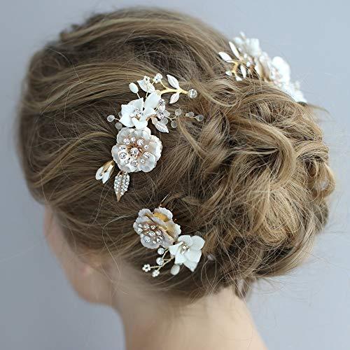 Flor de porcelana peinetas para el cabello de novia conjunto de tocado...