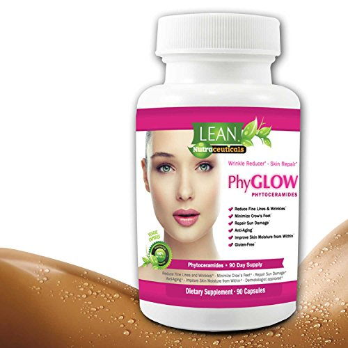 Lean Nutraceuticals 350 mg Phytoceramides All Natural Plant Derived PhyGLOW Skin Restoring, Anti-Aging Dermatologist Recommended Ceramides Formula with Vitamins A,C,D,E 90 Caps