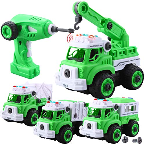JOYIN 4 in 1 Take Apart RC Garbage Truck Toy and Remote Control Electric Drill with Light and Sound Siren