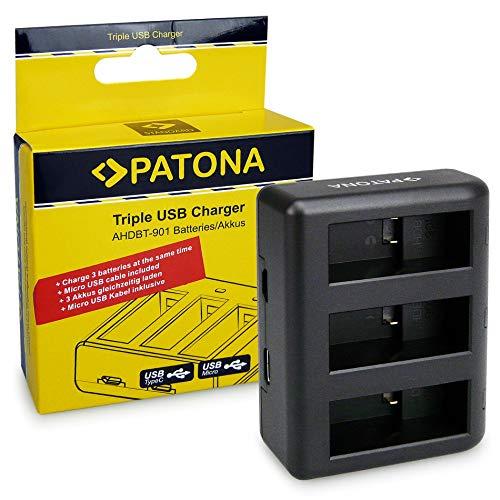 PATONA Cargador Triple para AHDBT901 ADBAT001 Bateria Compatible con GoPro Hero 9