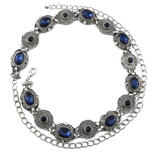 Body Chain sieraden, vrouwen metalen taille ketting, Holiday Beach zand kristallen strass steentjes met de hand verstelbare sieraden-blauw
