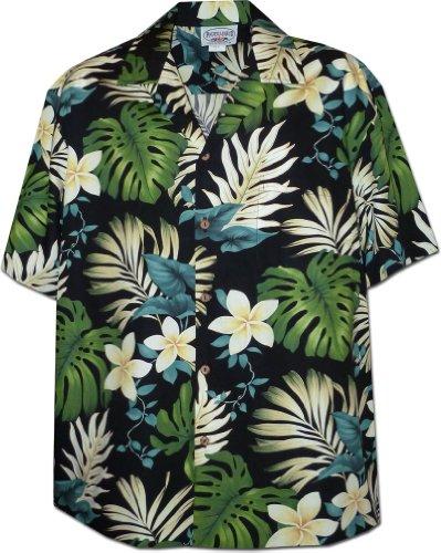 Tropical Monstera Hawaiian Shirt in Black L