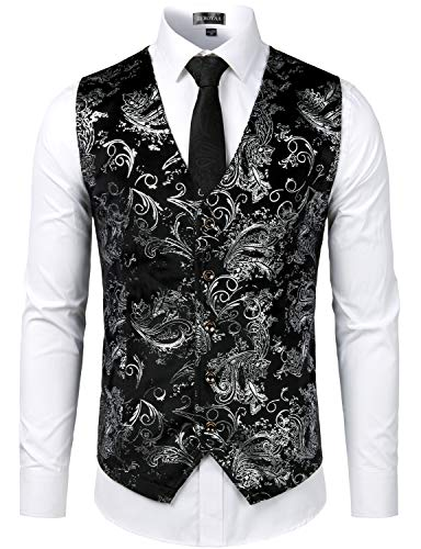 ZEROYAA Mens Hipster Silver Paisley Single Breasted Suit Dress Vest/Tuxedo Waistcoat Z49 Silver Large