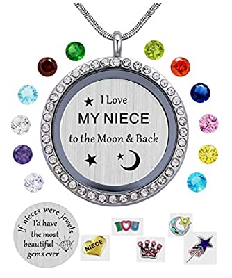 beffy I Love My Niece to The Moon & Back Pendant Necklace,White Gold Plated, Floating Charms Locket for Girls & Teen Girls, Gift from Aunt