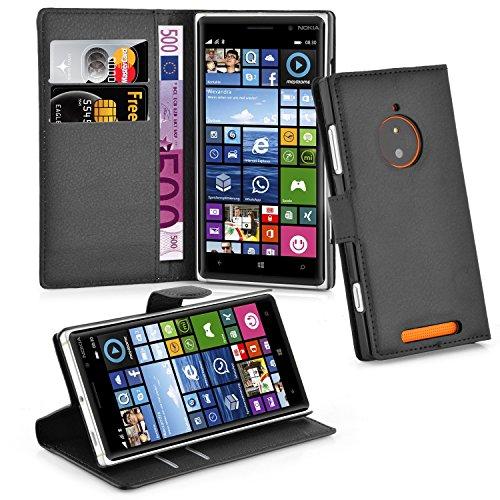 Cadorabo Hülle für Nokia Lumia 830 - Hülle in Phantom SCHWARZ – Handyhülle mit Kartenfach & Standfunktion - Hülle Cover Schutzhülle Etui Tasche Book Klapp Style