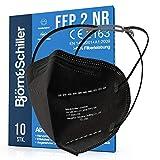 FFP2 Masken 10 Stück NR, Atemschutzmaske schwarz ohne Ventil, 2x Kopfband-Verlängerung und 10x Nasenpolster 4-lagig CE 2163 zertifiziert, Mundschutz & Nasenschutz medizinisch, Schutzmaske, Halterung