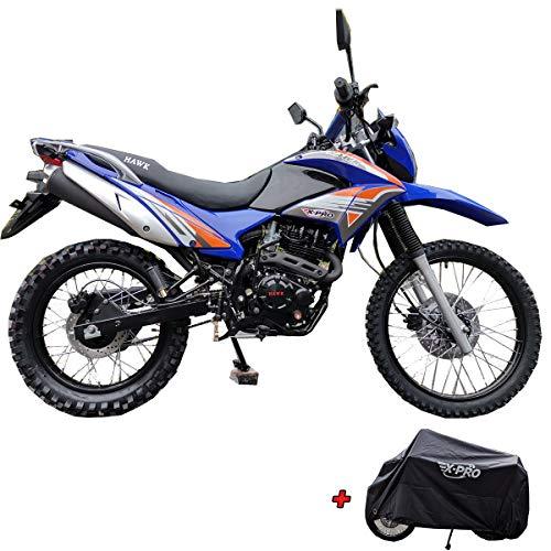 X-Pro Hawk 250 Dirt Bike Motorcycle Bike Dirt Bike Enduro Street Bike Motorcycle Bike with Motorcycle Cover,Blue
