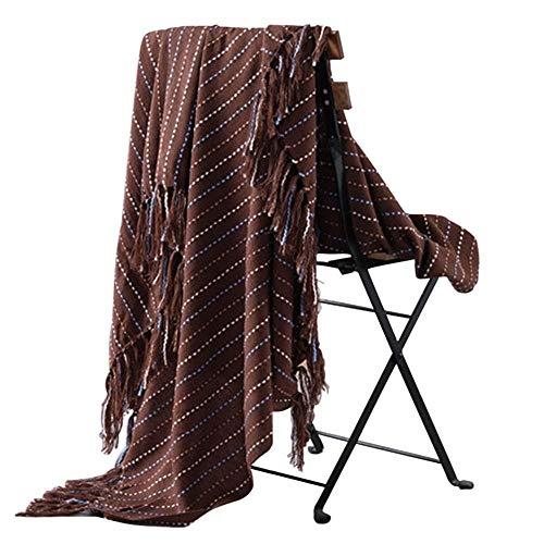 YEZIB Decoración del hogar Manta Mantas nórdica Estilo Galleta de Punto Mantas Decorativo Flecos Mantas for el sofá de Rayas Mantas Decoración de Pared (Color : Brown, Size : 130x160cm)